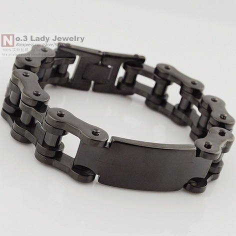 Black 316l Stainless Steel Mens Bike Chain Id Bracelet Jewelry Heavy Cool For Biker