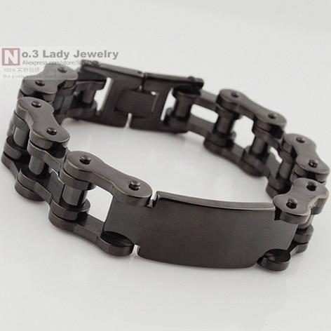 Black 316l Stainless Steel Mens Bike Chain Id Bracelet Jewelry Heavy Cool For Biker