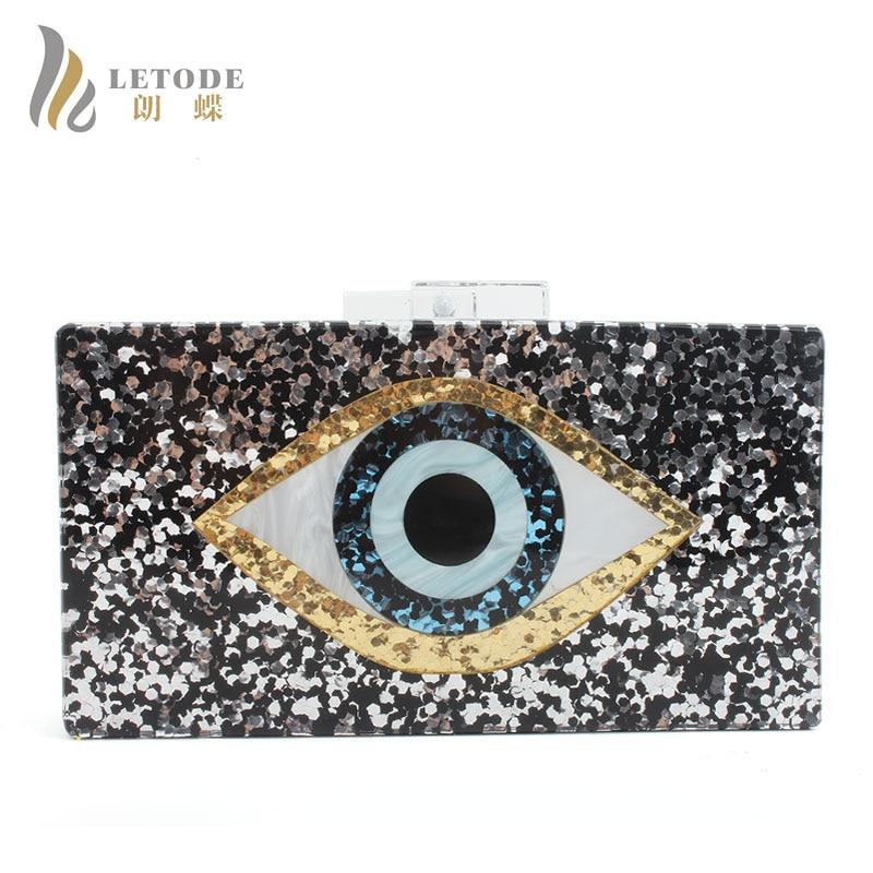 Image 5 - Famous Brand Evil Eyes Bag Shiny Evening Clutch Bag For Wedding  Party Women Handbags Acrylic Bag Chain Shoulder Bags Messengerevening  clutch bagsclutch bags for womenclutch bag