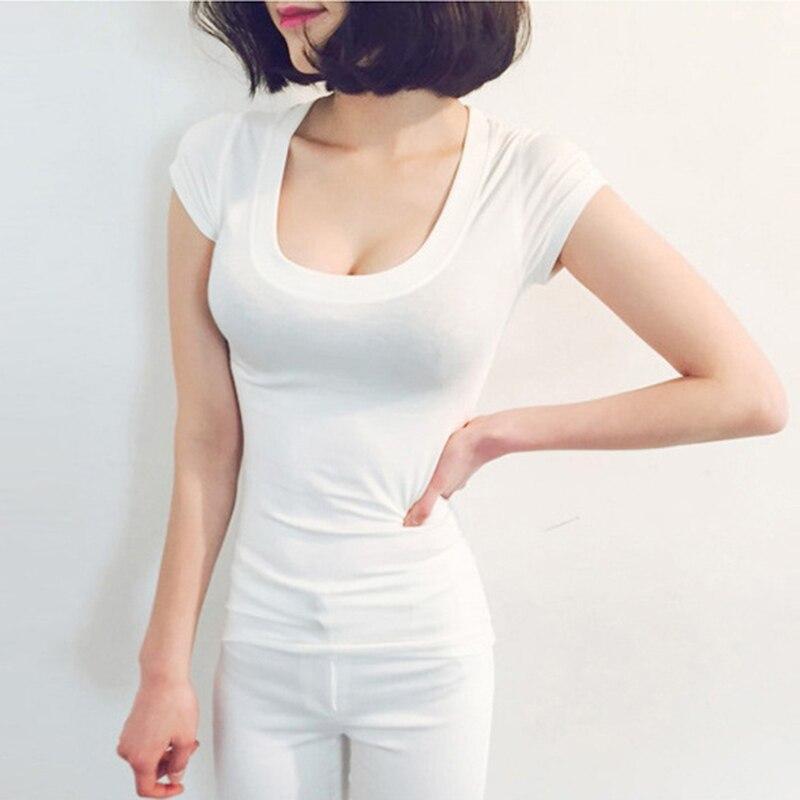 Tee Shirt Femme Basic მაისური ღრმა V-Neck Top - ქალის ტანსაცმელი - ფოტო 4