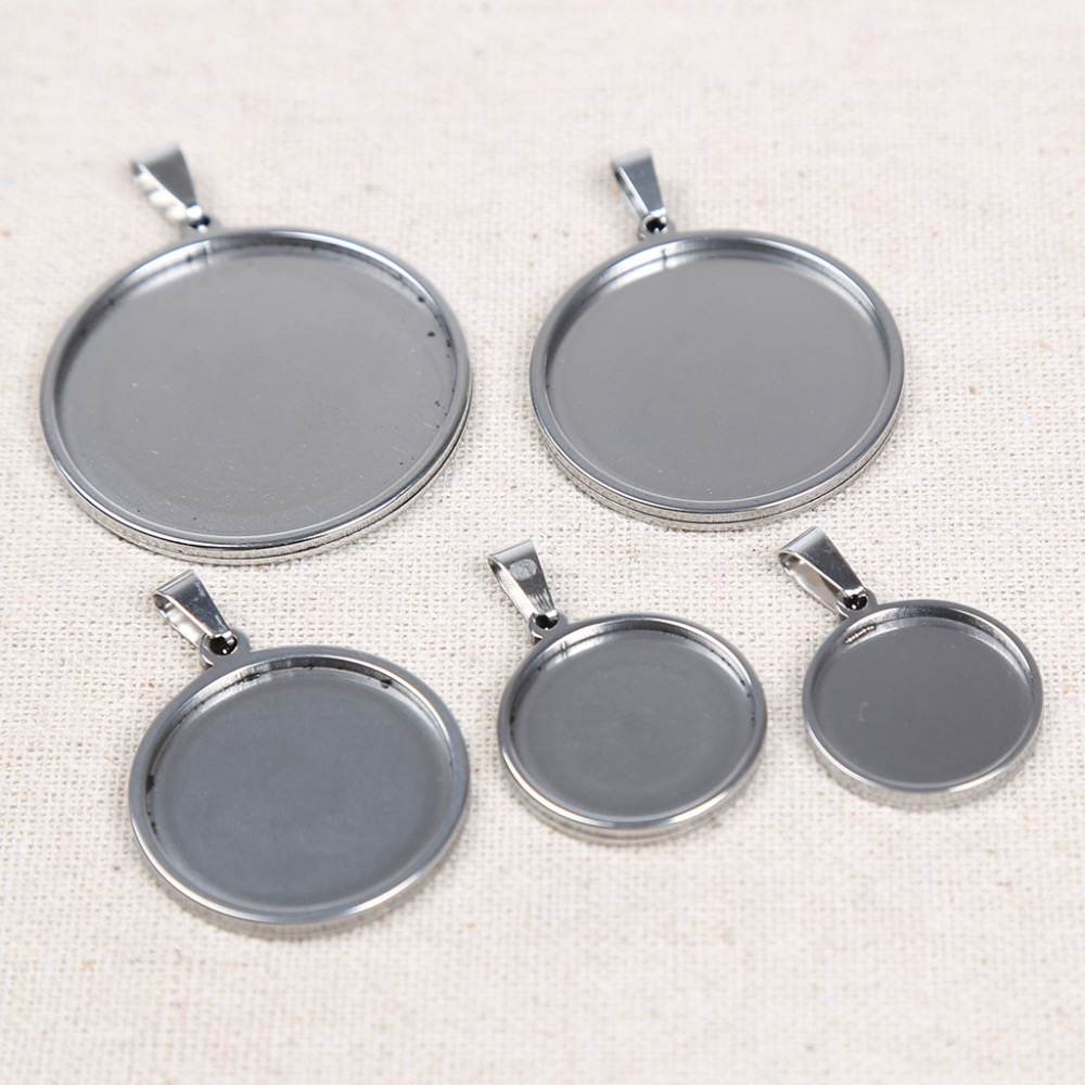 reidgaller 10pcs stainless steel 18mm 20mm 25mm 30mm 35mm dia cabochon base setting diy blank pendant tray for necklace making 10pcs 25mm chain pendant necklace setting cabochon cameo base tray bezel blank diy jewelry making findings