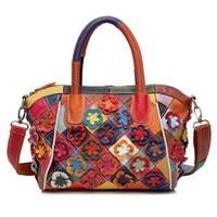 Women Genuine Leather Handbags Ladies Patchwork Tote Bag Vintage Natural Sheepskin Flower Rivet Crossbody Bags Floral