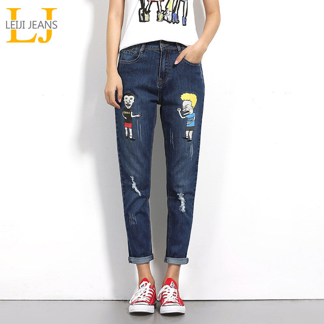 3c3d9279818 LEIJIJEANS 2018 Spring And Autumn Plus Size Fashion Ripped Figure Printing Mid  Waist Full Length Loose Women Harem Jeans 5670