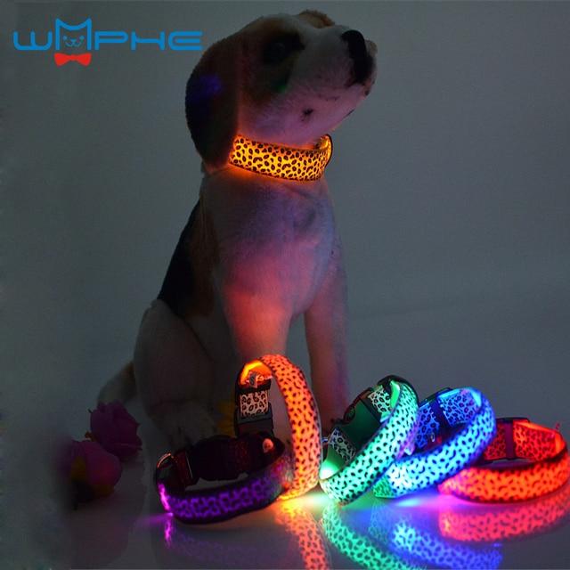 Fashion Leopard LED Dog Collar Flashing In Dark  Nylon 3 Mode Lighting Safety LED Pet Collar 2.5cm Wide Luminous Pet Products