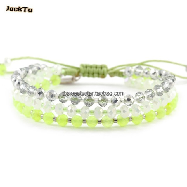 new style green nylon with crystal seed beads friendship wrap bracelet