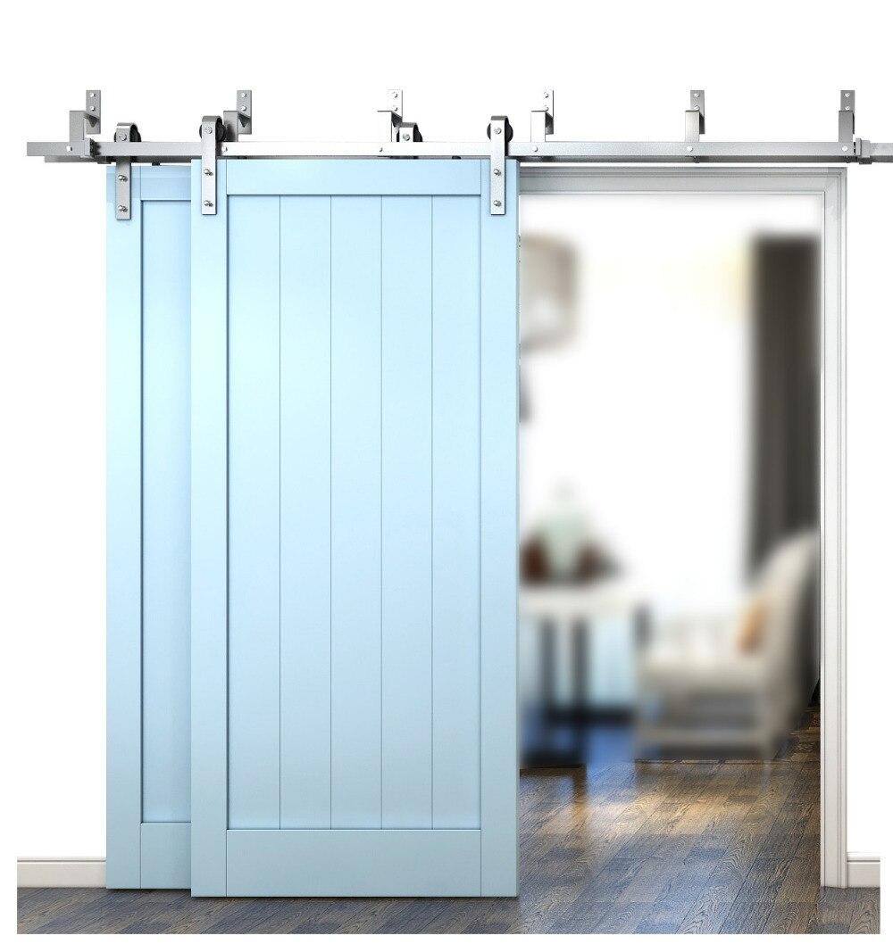 DIYHD 10FT Bypass Sliding Barn Door Hardware for 4 Barn Doors