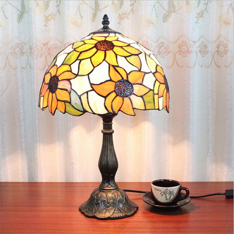 Handmade Sunflowers Glass Dia 30cm led E27 Tiffany Table Lamp for living Room Bar Restaurant Adjustable Wedding Decor Lamp 2047