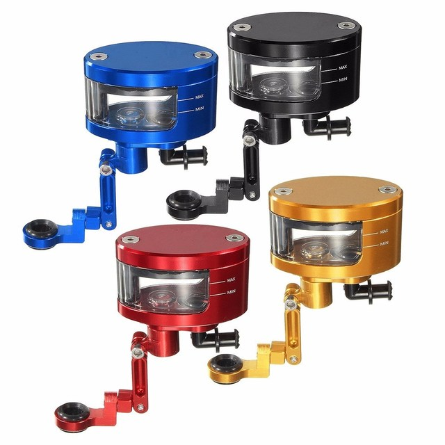 Red Blue Black Gold Motorcycle Brake Pump Oil Box Tank Oil Fluid Master With Bracket  Aluminum