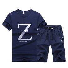 Sporting suit Men 2019 Brand Fitness Suits Summer 2PC Top Short Set Mens Fashion 2 Pieces T-shirt +Shorts letter print Tracksuit