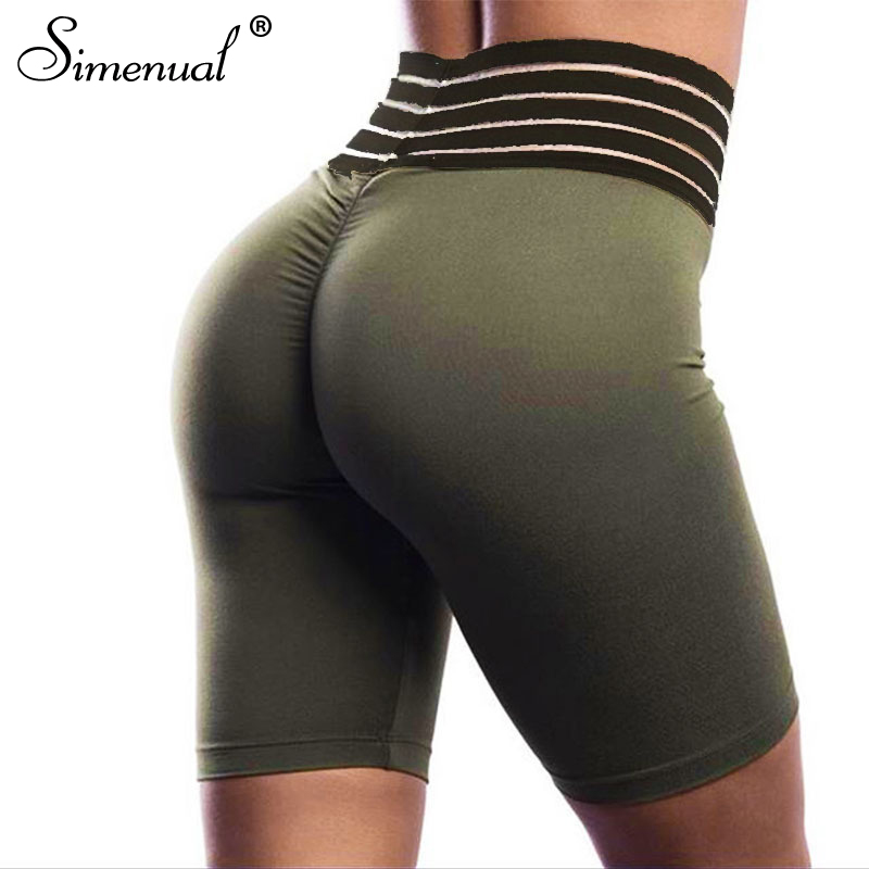 Simenual Striped high waist biker   shorts   ruched push up   short   pants fitness athleisure active wear biker   shorts   2019 summer new