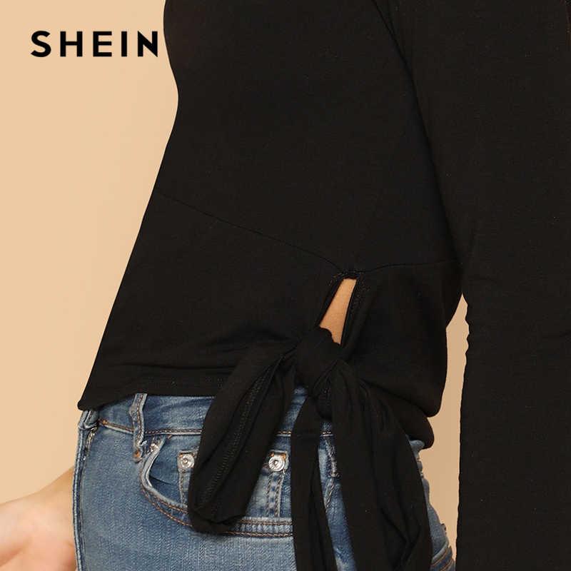 451cc3aa16d ... SHEIN Black Choker Neck One Shoulder Knot Side Top Party Long Sleeve  Plain Halter Slim Fit