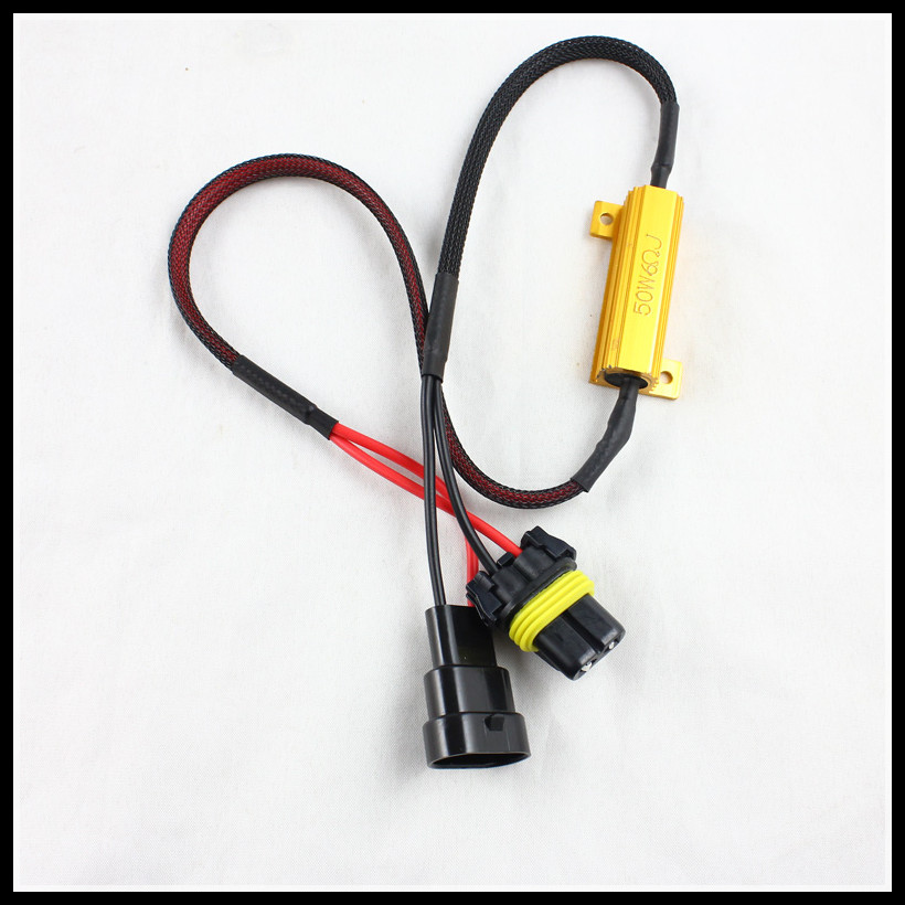 50W HID Xenon LED 9005 9006 Warning Canceller cable harness HB3 9005 9006 car LED fog head light canbus decoder Load Resistor 2pcs car led headlight decoder fog light drl no error load resistor no flickering warning canceller 9005 9006 hb3 hb4
