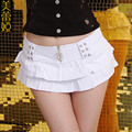 2016 New Summer and Autumn White Falbala DJ Performance Clothing Denim Low Waist shorts jeans Sexy Solid Women Shorts Skirts