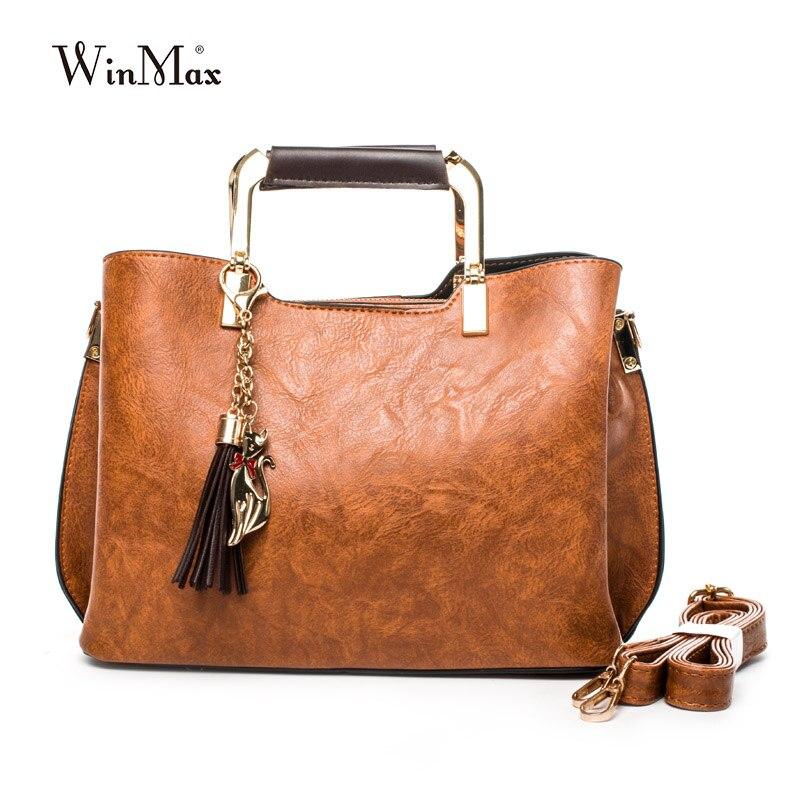 High Quality Women Leather Handbags Vintage Tassel Shoulder Bag Brand Casual Tote Bags Shoulder Bag Feminina Bolsa Crossbody Bag