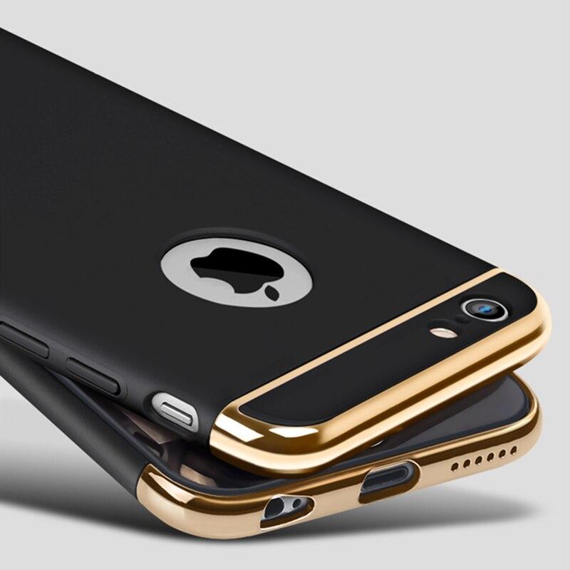 Новый 3in1 ультра тонкий Роскошный Матовый противоударный покрытие металла текстура кожи протектор чехол для iPhone 6 6S плюс телефон дело Капа