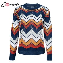 Conmoto Rainbow Women Sweaters and Pullovers 2018 Autumn O Neck Sweater Sexy Hallow out Streetwear Long Sleeve Sweater Tops(China)
