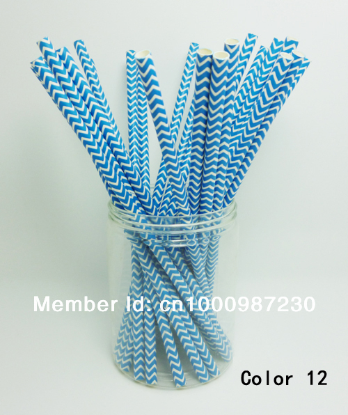 25 Pcs Paper Straws Blue Chevron Striped Drinking Straws For Party Birthday Wedding Decoration Color 12