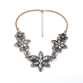 2016 Luxury Brand AB Shine Crystal Flower Necklace Gold Plated Chain Choker Statement Necklaces Pendants Rhinestone Bib Collar