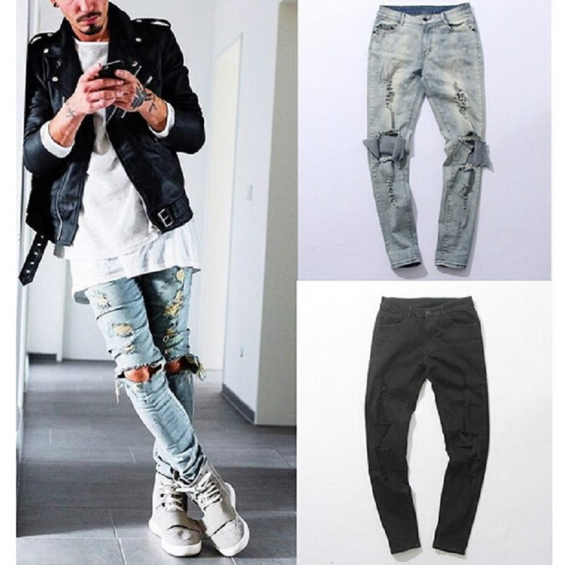 New Harajuku Distressed hip hop Ripped Jeans Mens Big Hole Biker Knee Swag Clothes Destroy Skinny Denim cotton jeans biker jeans mens brand black skinny ripped zipper full length pants hip hop cotton denim distressed pantalones vaqueros hombre