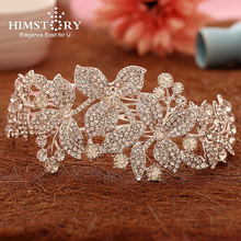 Himstory Sparkling crystal rhinestone flowers and leaves wedding accessories Bride Hair Jewelry Headpieces Princess Band