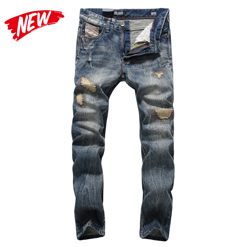 England Dark   Jeans   Men High Quality Slim Fit Designer Denim Patch   Jeans   Male Pants Brand Clothing Men`s Destroyed   Jeans   C704