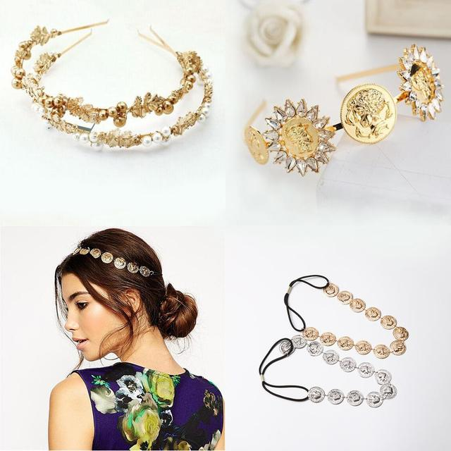 Luxury Baroque Coin Jewel Headband For Women Girls Bride Wedding Leaves Crystal Pearl Hairband Bezel Headwear Hair Accessories 1