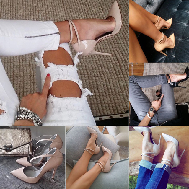 HOT Pumps 2018 Women lace up high heels Summer style pointed toe bandage Stiletto pu leather ladies party high heel shoes pink