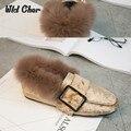 5 coloors Más Mantener Caliente Suave de Piel de Conejo Real de Piel de Las Mujeres pisos Slipony Mocasines Resbalón En los Zapatos Casuales Calzado Mujer Otoño Invierno