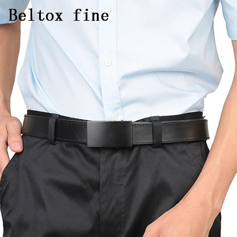 Image 4 - Men's Top Grain Bridle Leather Dress Belts No Ratchet Automatic Buckle 1 3/8 Designer Belt Cassic belts for men ceinture-in Men's Belts from Apparel Accessories