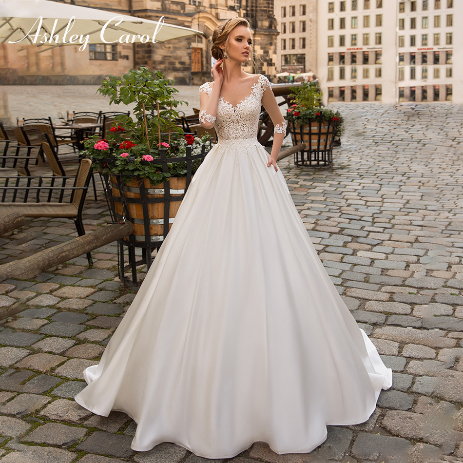 Ashley Carol Sexy V-neck Illusion Satin Vintage Lace Wedding Dress 2019 Half Sleeve Beaded Appliques Sweep Train Wedding Gowns