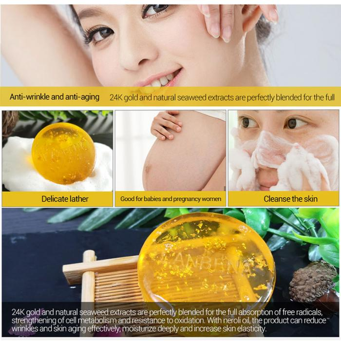 Handmade Soap - Whitening Moisturising Gold Foil Facial Skin Care - Deep Cleansing Anti-Wrinkle 28