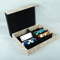 8 Grid Multi Function Leather Sunglasses Case Box Leopard Pattern High Grade Quality Spectacles Storage Bin