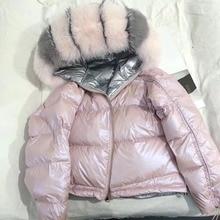 Женская зимняя куртка с натуральным лисьим мехом на капюшоне, утепленное пальто 2018 года, модная куртка с натуральным лисьим мехом на утином пуху, пальто с натуральным мехом