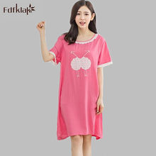 fdc3c15bb3 2017 Summer Cotton Women Sleepwear Dress Cartoon Nightgown Female Casual  Cute Sleepshirt Girl Nightdress Home Clothing