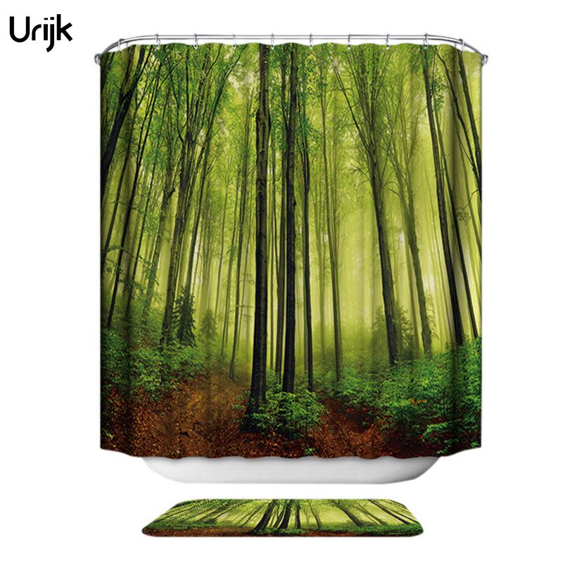 3D Shower Curtain Green Forest Bathroom Drapes Curtains Nature ...