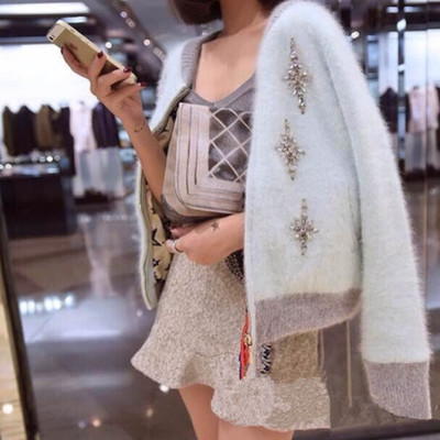 423734ee6f SMTHMA 2019 Autumn   Winter Knitting Sweater Cardigan Solid Color Diamond  mosaic Mink Cashmere Sweaters Female