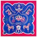 100cm*100cm Brand H Twill Silk Blue carriage symmetrical printed female Square Scarf women winter headscarf girls shawls A219