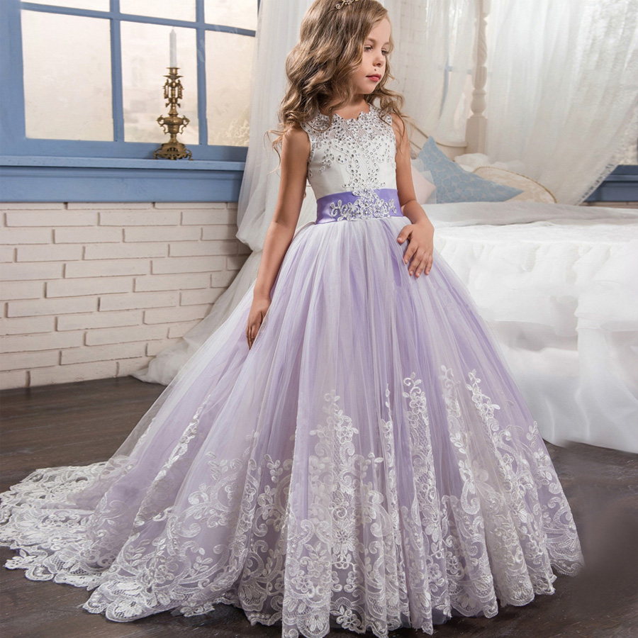 Pageant Dresses For Girls2018 New Tulle Crystal Aline Light Purple