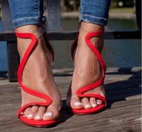 Summer Woman Red Nude Suede Leather Open Toe Cuts Out S shape Zipper Back Clear PVC Strap Patchwork Thin Heels Pumps Dress Shoes