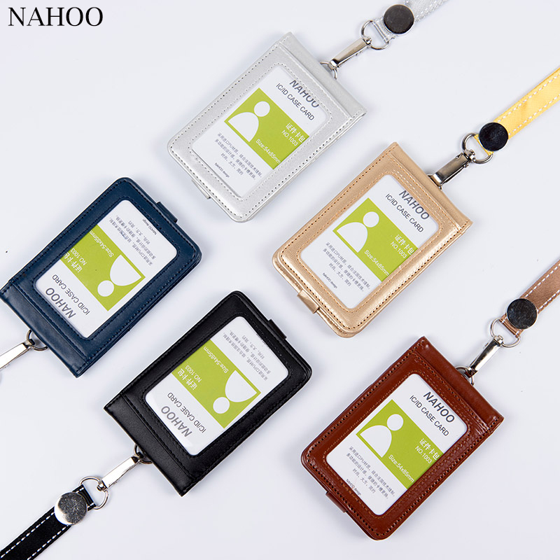 Nahoo Lanyards Id Badge Holder Cute Name Tag Plastic Badge Real Leather Card Case Holder Bank Credit Card Holders Office Supplie