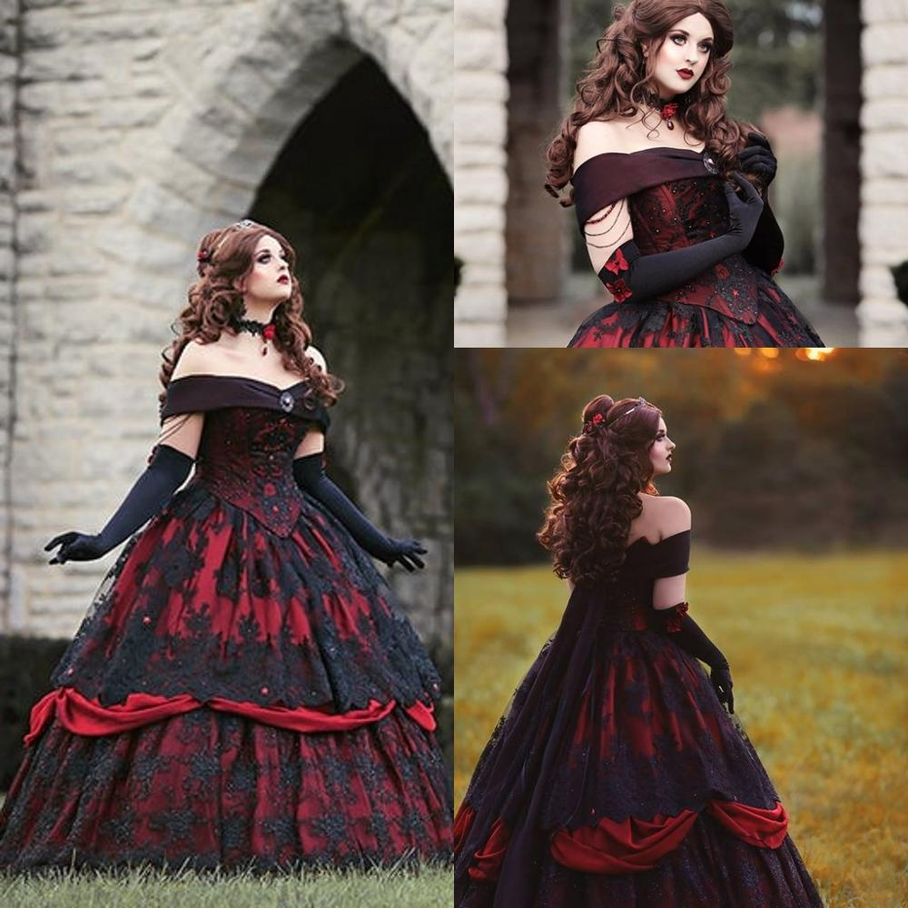 Gothic Belle Red Black Lace Wedding Gown Vintage Lace-up Corset Steampunk Sleeping Beauty Off Shoulder Plus Size Bridal Gown