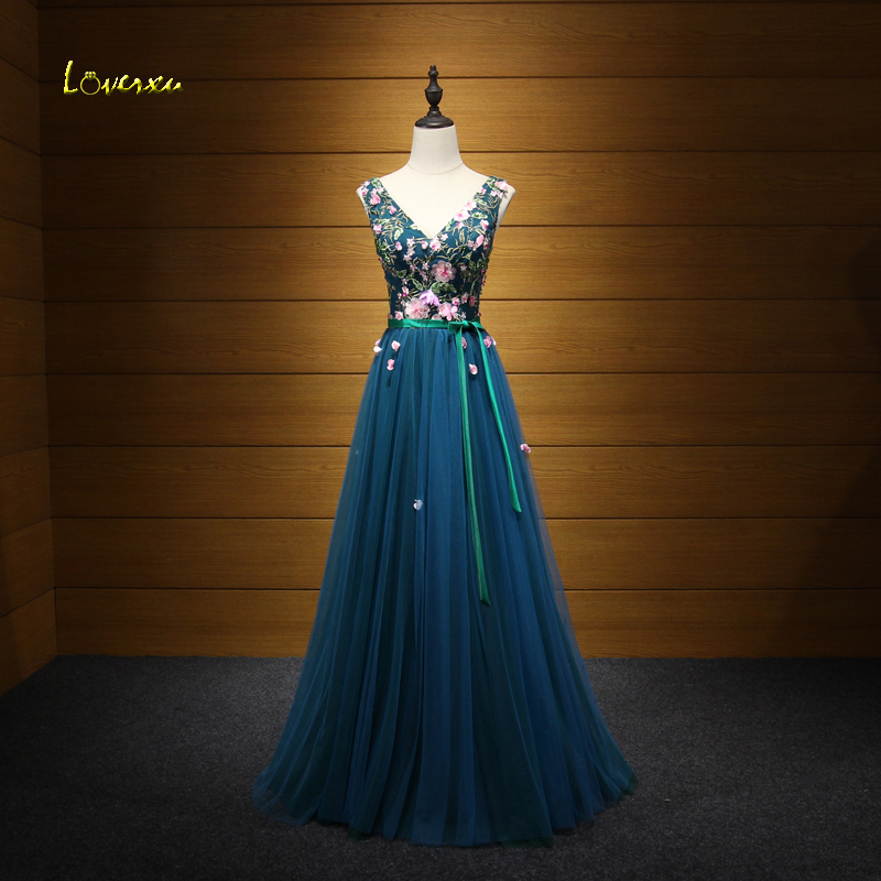 Loverxu Delicate Embroidery V-neck Lace Up Princess Prom Dress 2017 Appliques Beaded Formal Party Gown Vestido de Festa Hot Sale