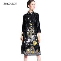 BURDULLY High-end Kadınlar Için 2018 Bahar Standı Yaka Çin Tarzı Elbise Zarif Çiçek Nakış Elbise Siyah Kadın qipao