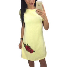 ФОТО yanqin summer fashion rose appliques simple style straight dress woman o-neck short sleeve casual party mini dresses