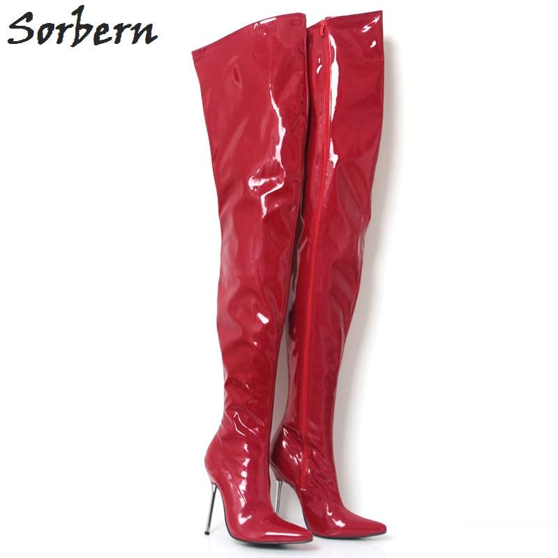 Sorbern Red Shiny 12Cm Metal High Heels Crotch Thigh High Women Boot Patent Women Pointed Toe