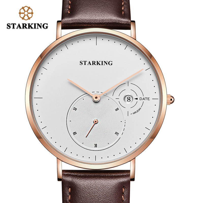 STARKING Fashion Casual Business Watch Male Classic Top Brand Quartz Analog Wrist Watch For Men With Date Vogue Leather Watch mike 8825 men s business casual analog quartz wrist watch golden silver