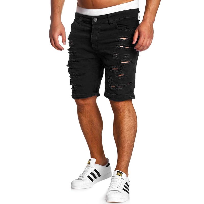 2 017 брендовые черные Рваные джинсы Для мужчин короткие байкерские джинсы летние Повседневное Slim Fit вода мыть хлопок прямые Для мужчин Корот...