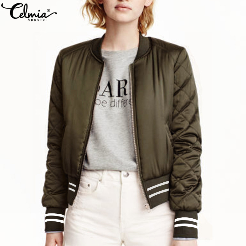 Celmia 2018 Autumn Winter Women Bomber Jacket Casual Long Sleeve Ribbed Cuffs Collar Zipper Biker Coat Ladies Jackets Outwear