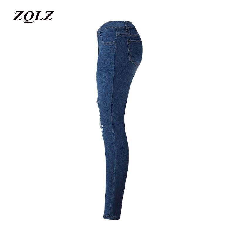 4b3de7b78 Melhor ZQLZ Lápis de Cintura Alta Calças Jeans Feminina 2018 Moda Ruched Jeans  mulher Skinny Ripped Washed Denim Elástica Calças Mujer Barato Online Preço.