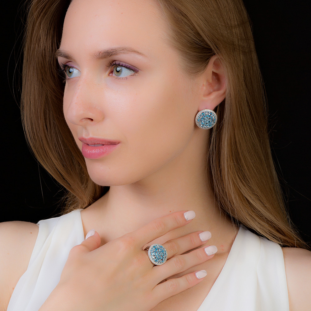 GEM S BALLET 11 05ct Oval Natural Swiss Blue Topaz Jewelry Set 925 Sterling Silver Earrings